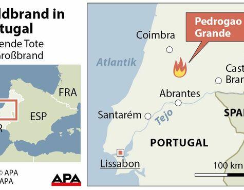 Waldbrände Portugal Karte.Waldbrände In Portugal Zahl Der Todesopfer Gestiegen Salzburg24